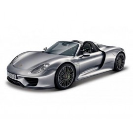 Macheta metalica Bburago 1:24 Plus Porsche 918 Spyder Grey metalizat