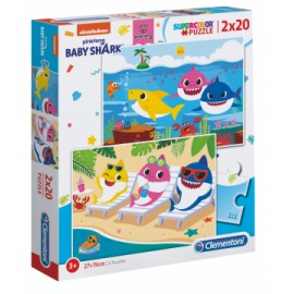 Puzzle Super Color Baby Shark 2X20 piese